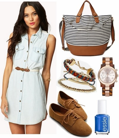 Denim shirtdress, oxfords, stripe bag
