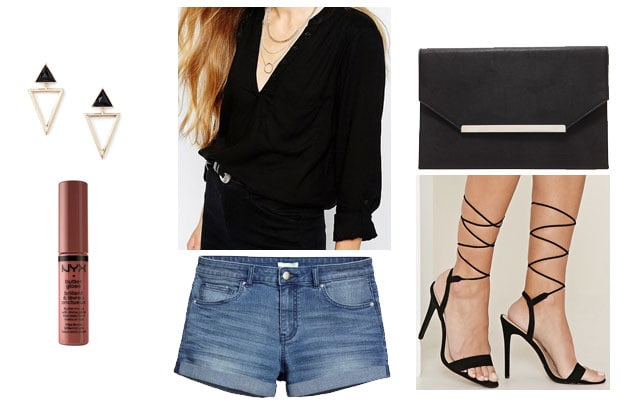Denim shorts chic date night outfit