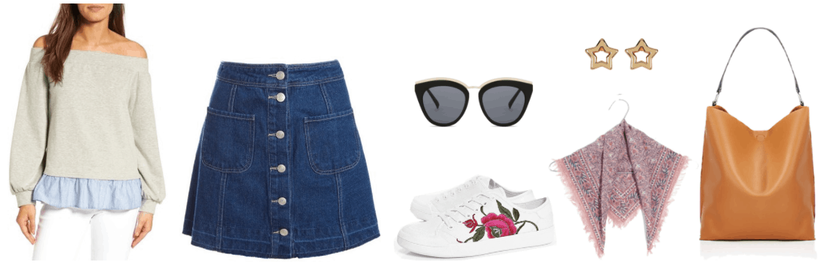 """Four Fresh Ways to Wear a Denim Skirt in 2017"" Outfit #2 featuring light gray off-the-shoulder sweatshirt with blue-and-white striped peplum hem, medium-wash a-line denim mini skirt with silver buttons going up the front and frayed hem, black cat-eye sunglasses with dark gray lenses and gold arms, bridge, and front detail; white sneakers with floral embroidery, gold open star stud earrings, pale pink floral bandana with frayed edges, cognac-brown hobo bag"