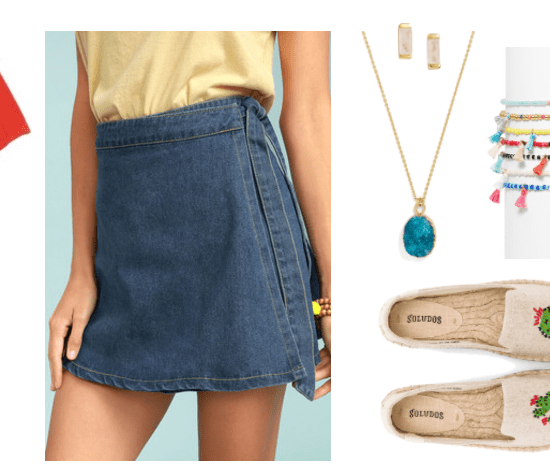 """Four Fresh Ways to Wear a Denim Skirt in 2017"" Outfit #3 featuring faded red short-sleeved t-shirt with ""SEA SUN & FREEDOM"" stitching in red, white, and blue; peacock-blue square-ish sunglasses with peach lenses, medium-wash wrap denim mini skirt with tie, gold rectangular earrings with moonstone, gold necklace with turquoise druzy pendant, set of seven small colorful beaded bracelets with tassels, pale beige canvas platform espadrilles with mismatched cactus embroidery, pale blue tote with Opening Ceremony logo in white"