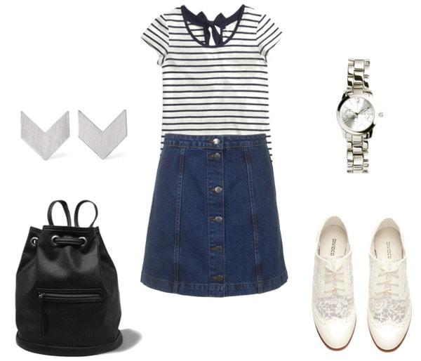 denim skirt class outfit