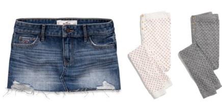 Denim skirt and leggings trend