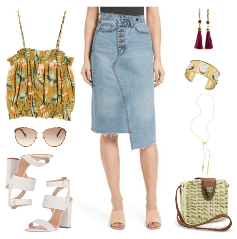 """Four Fresh Ways to Wear a Denim Skirt in 2017"" Outfit #4 featuring mustard-yellow spaghetti-strap cropped top with tropical floral print, aviator-style tortoise sunglasses with brown lenses, white block-heeled strappy sandals, light-wash asymmetrical-hem denim pencil skirt, gold earrings with purple bead and feather tassel, large gold cuff bracelet with marbled white oval-shaped stones, gold bolo necklace, woven box bag with brown faux-leather strap and opening detail and brass clasp"
