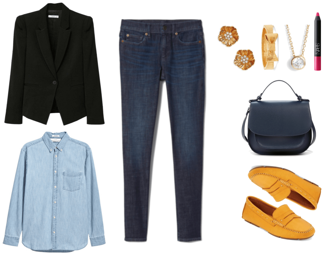 Black single-button blazer, light-wash denim shirt with chest pocket and button-down collar, mid-rise dark-wash skinny jeans, gold Poppy-shaped stud earrings with small white stones at center, gold medium-width bow bangle, gold necklace with round clear stone pendant, Nars Velvet Matte Lip Pencil in
