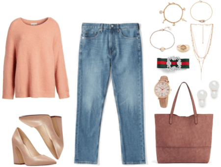 Peach-pink crewneck sweater with snap shoulder, beige leather flared block-heel pointed-toe pumps, light-wash slim boyfriend jeans. gold charm bracelet with clear stones, gold bracelet with marquise-set clear stones, rose gold bracelet with heart-stamped disc, gold signet ring with starburst with clear stone at center, gold triple-strand lariat necklace, red-and-green bow hair clip with pearl embellishment at center, watch with camel-colored band, tan dial, and rose-gold hardware, dusty-pink oversized faux-suede tote, double-pearl earrings