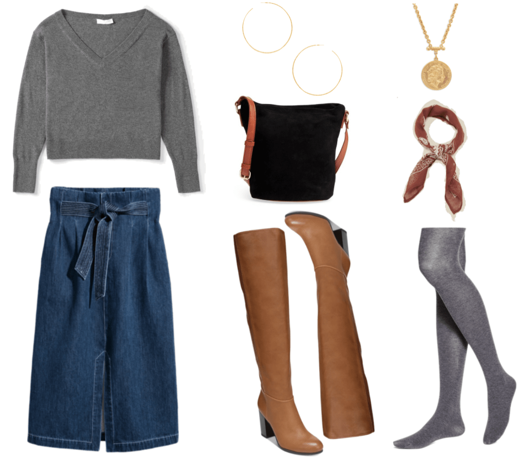 Gray cropped v-neck sweater, medium-wash high-waisted denim midi-length pencil skirt with tie waist, large skinny hammered gold hoop earrings, black slouchy suede cross-body bag with cognac-brown leather strap, tan knee-high boots with block heel, gold coin necklace, cognac-brown bandana with white pattern, opaque gray tights