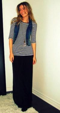 denim vest and long skirt
