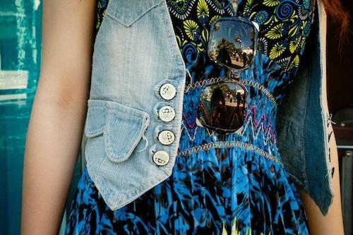 Denim vest and printed dress at shanghai international studies university