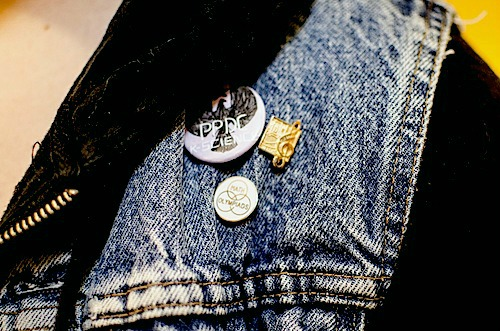 Denim vest with pins