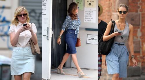 The knee-length denim skirt trend on celebrities Jessica Alba, Kirsten Dunst, and Eva Mendes