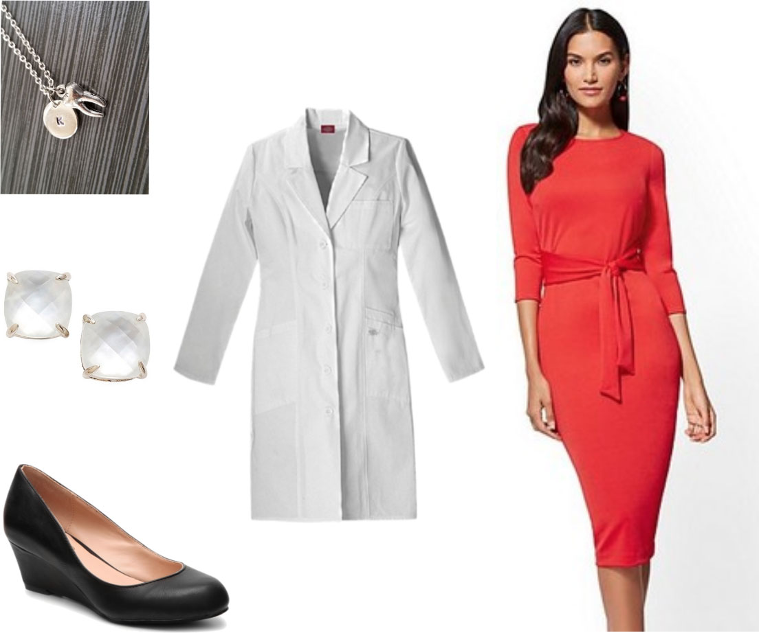 Dentistry white coat outfit -- red sheath dress, black wedges, clear earrings, tooth necklace