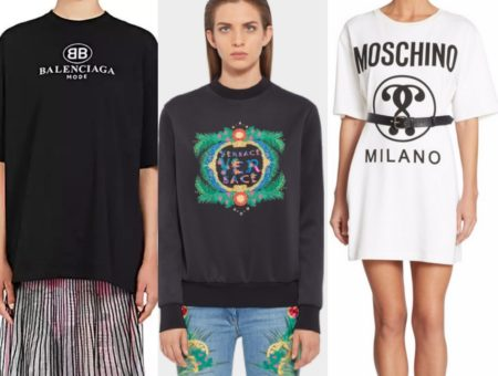 Balenciaga tee, Versace sweatshirt, and Moschino t-shirt dress.