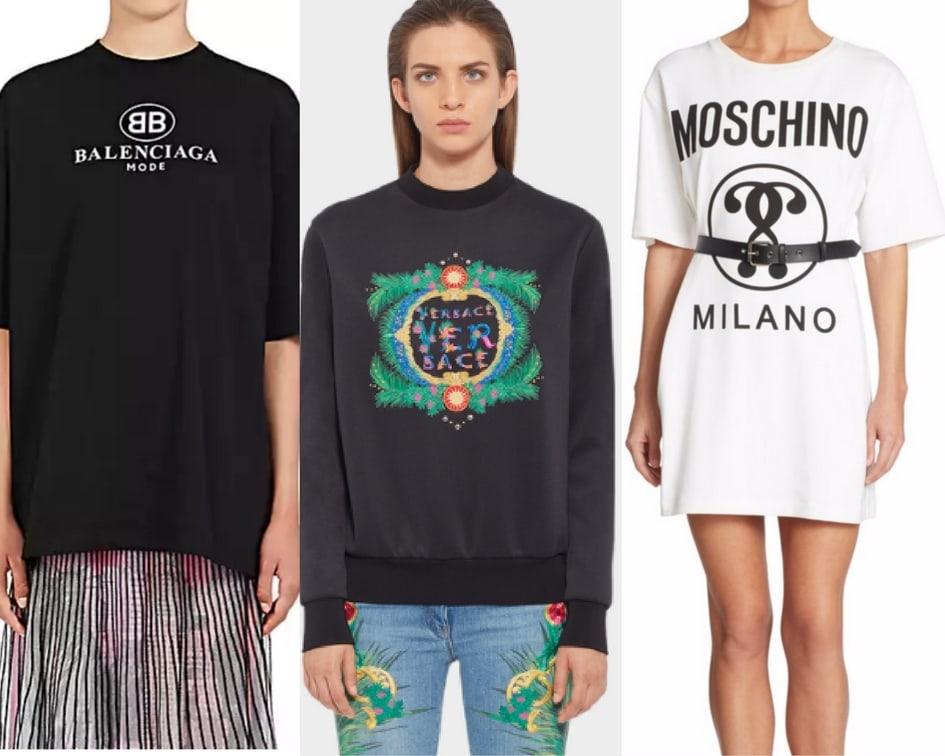 Balenciaga tee, Versace sweatshirt, and Moschino t-shirt dress.