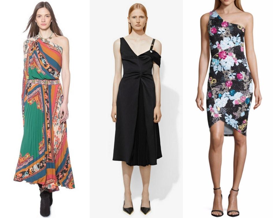Designer one-shoulder dresses.