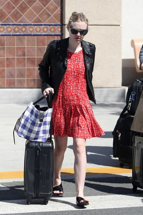 Dakota Fanning red dress and leather jacket