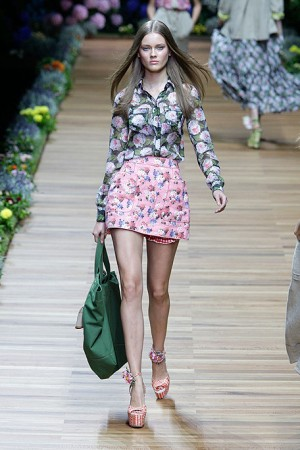 D&G Floral Blouse with Floral Skirt