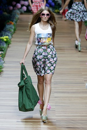 D&G Floral Skirt with Graphic Tee