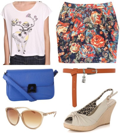 D&G inspired outfit: Floral skirt, white printed top, blue purse and espadrilles