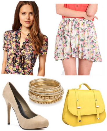 D&G inspired outfit: Floral blouse and skirt, yellow handbag, neutral pumps