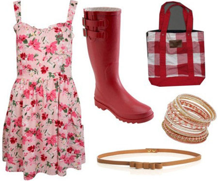 D&G inspired outfit: Pink floral dress, red rain boots, plaid tote