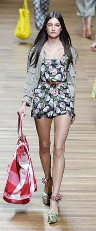 D&G Spring 2011 runway: Floral romper with plaid tote