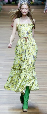 D&G Yellow Floral Dress with Green Boots