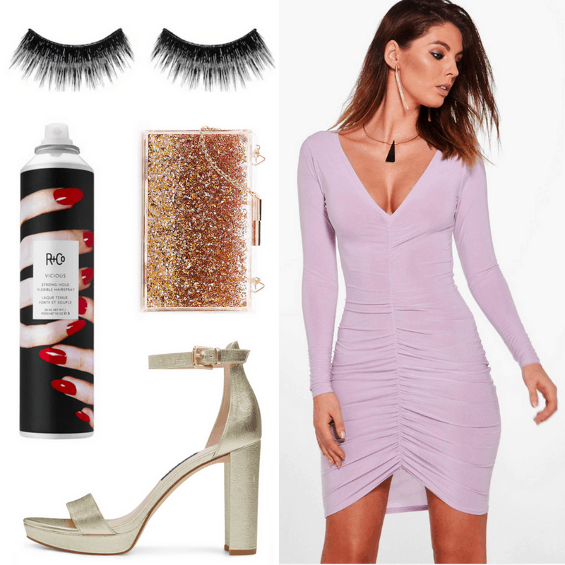 Diana Ross style: Outfit inspired by Diana Ross with false eyelashes, purple bodycon dress, sequin bag, platform heels, hairspray