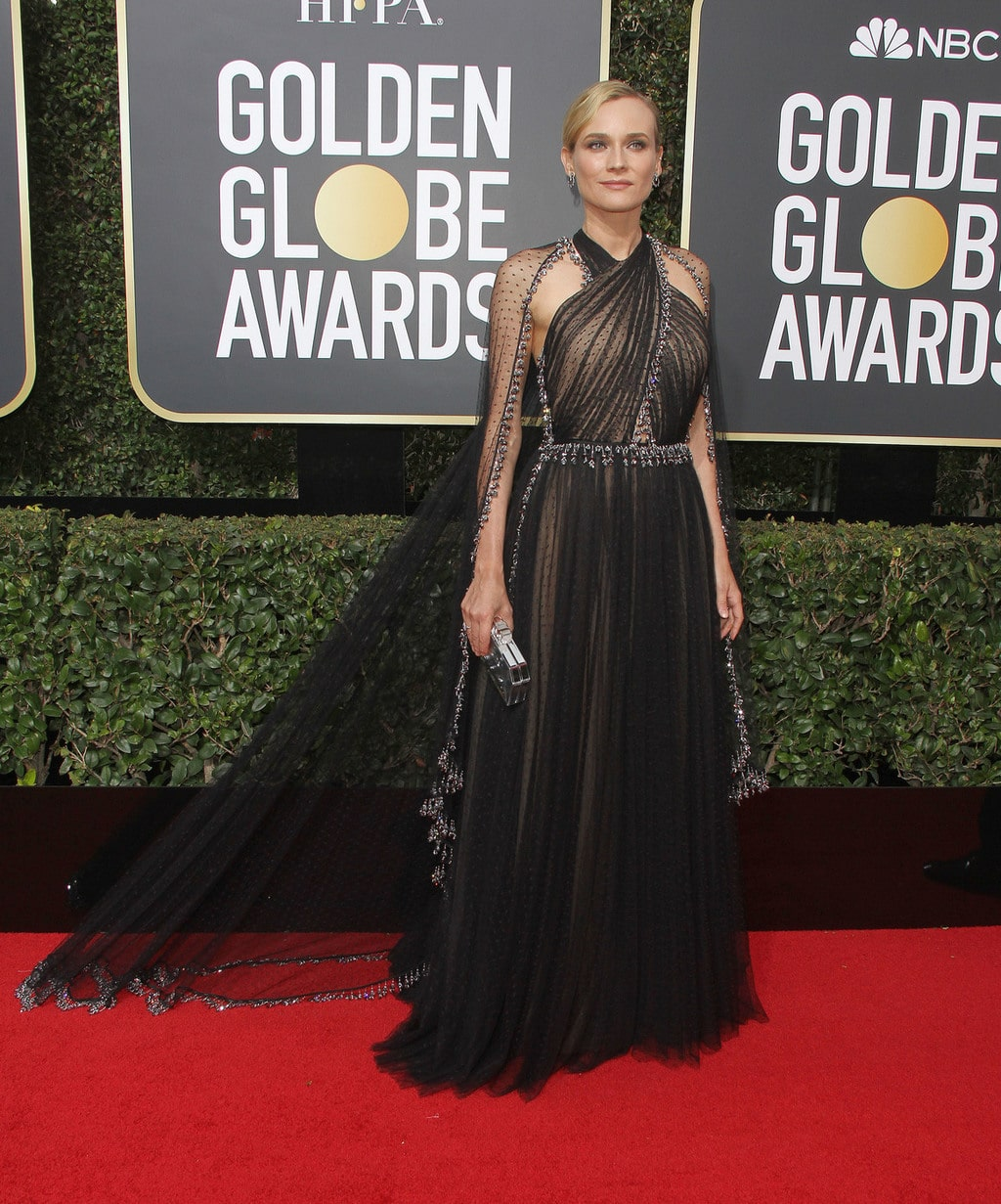 Diane Kruger in a black and silver Prada gown with crisscross neckline at the 2018 Golden Globe Awards red carpet