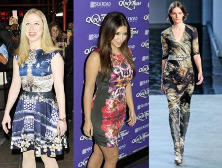 The digital prints trend on Chelsea Clinton, Kim Kardashian, and the runways at Helmut Lang Fall 2012