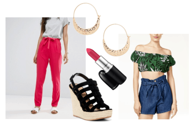 Outfit inspired by Dina from Girls Trip: Pink wide leg pants, strappy black wedges, red lipstick, doorknocker hoop earrings, palm print off shoulder crop top