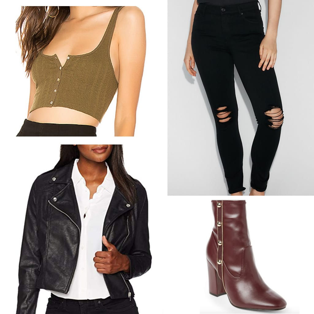 Outfit idea for a dinner and a movie date: Ripped black jeans, olive green button-front cropped tank, black faux leather moto jacket, burgundy ankle booties