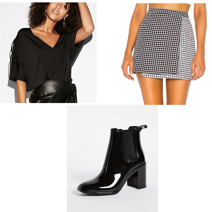 Dinner and a movie date outfit idea: Black blouse, patterned skirt, patent ankle booties