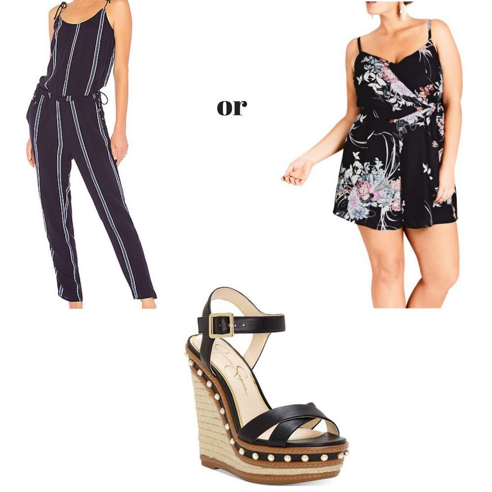 Dinner and a movie date outfit: Romper or jumpsuit and wedges