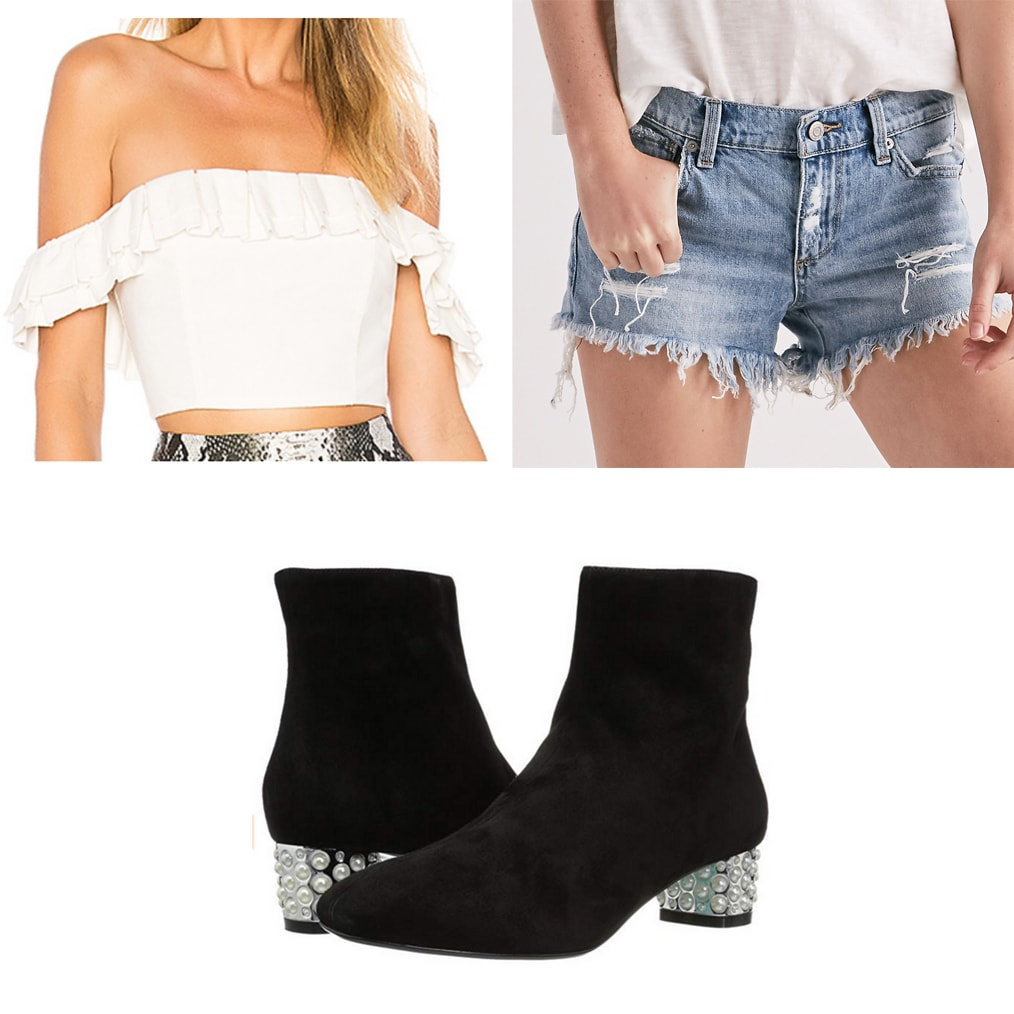 Dinner and a movie date outfit: Off shoulder top, denim shorts, ankle booties