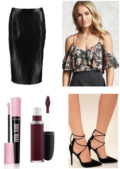 Dinner party outfit inspired by the movie It's Complicated: Off-the-shoulder ruffle top, leather midi skirt, lace-up heels