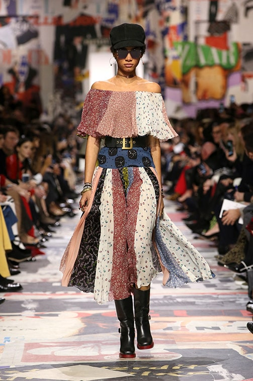 Busy prints on the runway at Christian Dior Fall 2018