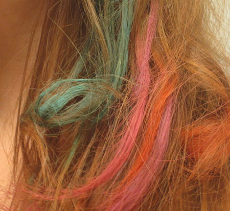 Close up of dip dye ends hairstyle