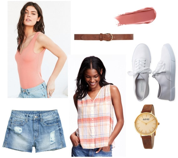 Outfit inspired by Baby from Dirty Dancing - cutoff shorts, bodysuit, plaid shirt, white sneakers