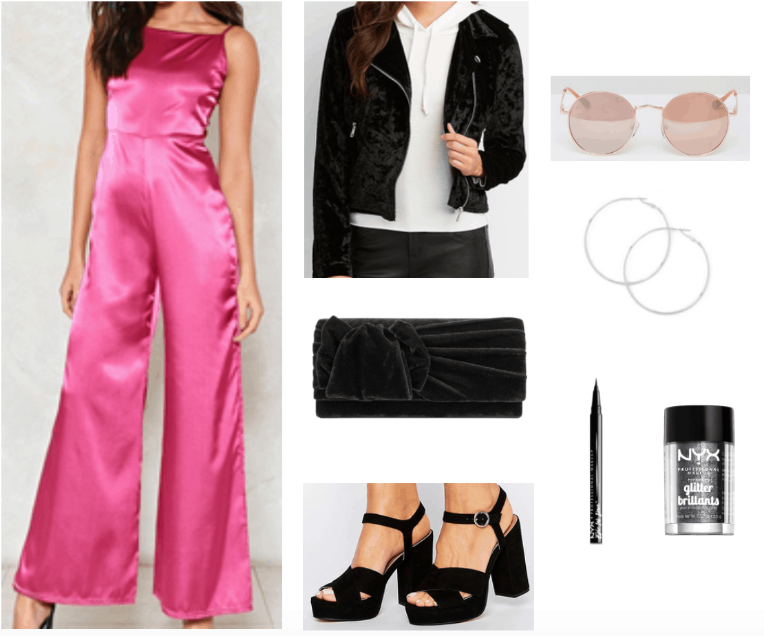 Disco inspired outfit with satin wide-leg jumpsuit and velvet accessories.