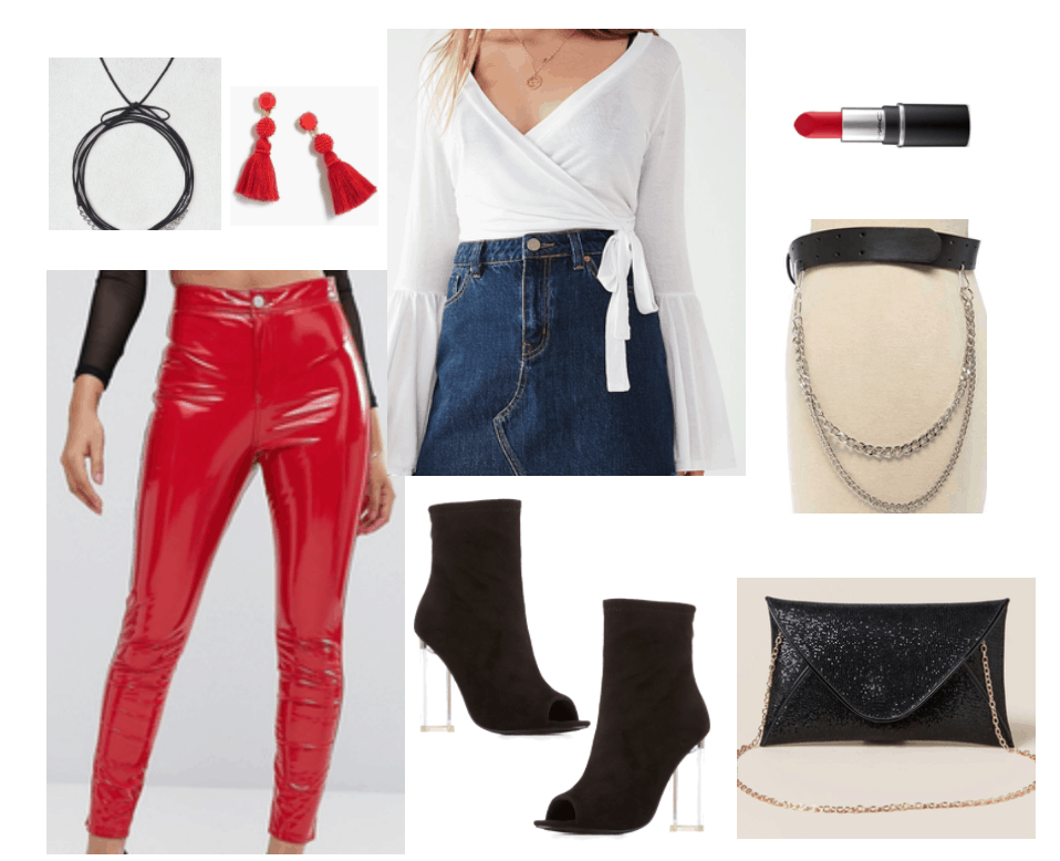 Third disco-inspired outfit includes bright red leather pants and accessories.