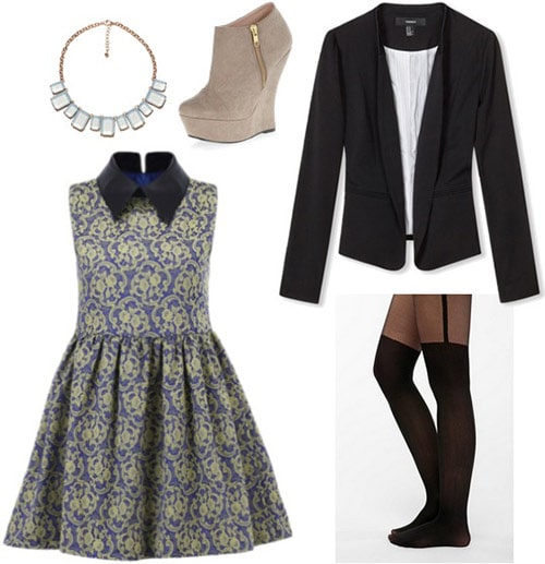 Outfit inspired by Disney's contemporary resort: Art deco-inspired dress, crisp blazer, tights, wedge ankle booties, geometric necklace
