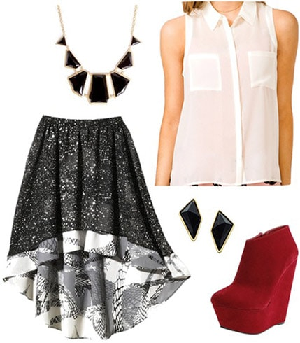 Outfit inspired by Disney's contemporary resort: High-low skirt, sheer button-down blouse, geometric earrings and necklace, suede ankle boots