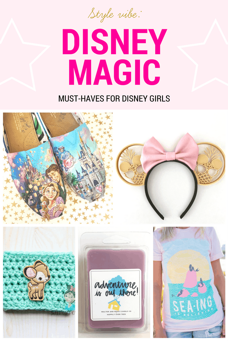 Disney shopping: Must have products for Disney girls including custom painted Rapunzel toms, pineapple mouse ears with bow, Bambi cozy, Adventure is Out There candle, Sea-ing is believing tee shirt