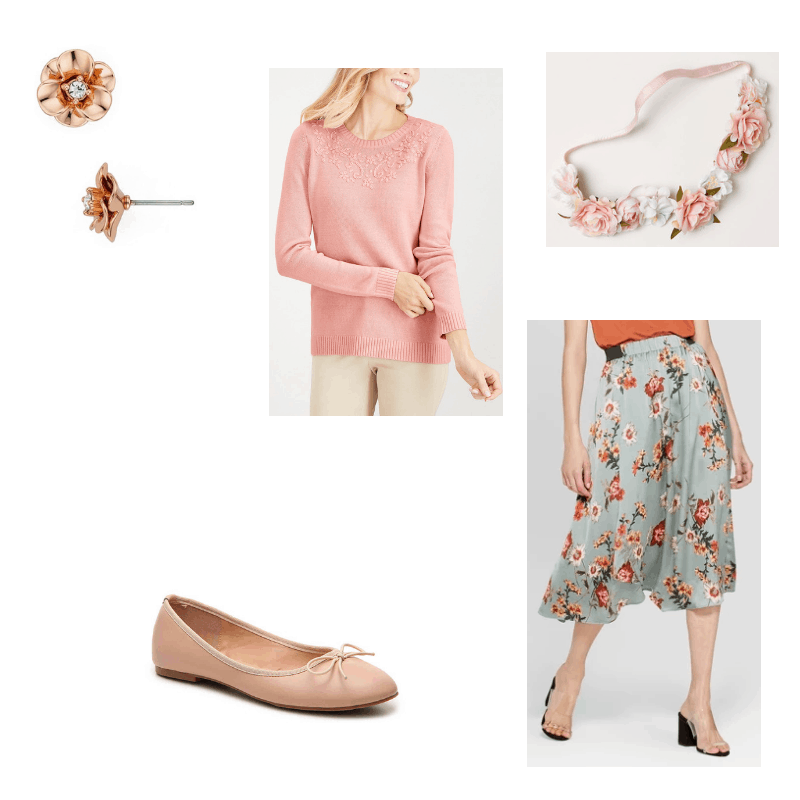 Outfit with pink sweater, floral midi skirt, ballet flats, flower earrings, and flower headband