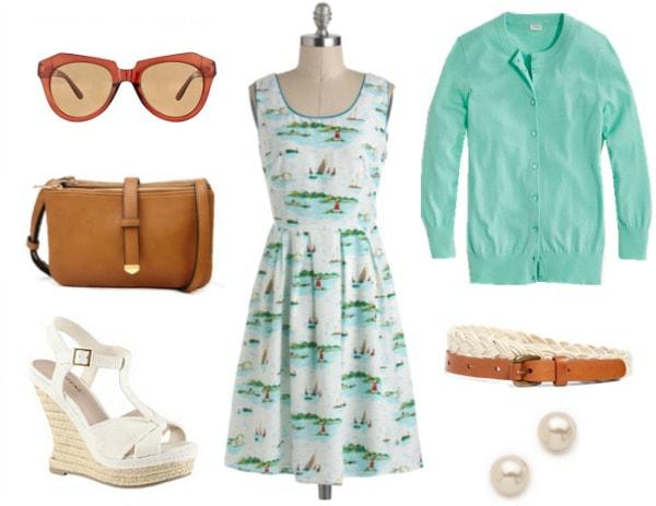 Disney yacht club outfit sailboat print dress cardigan esparilles