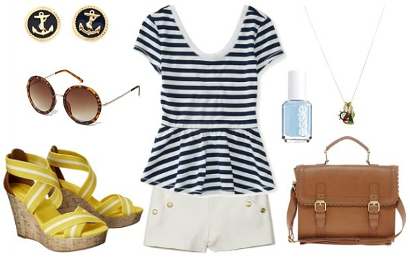 Disney yacht club outfit stripe top white shorts yellow wedges