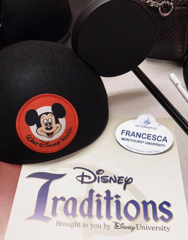 My name tag and Mickey hat from my Traditions class in Disney