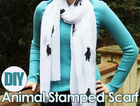 Diy animal stamped scarf