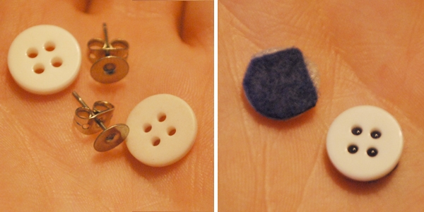 DIY button earring tutorial steps