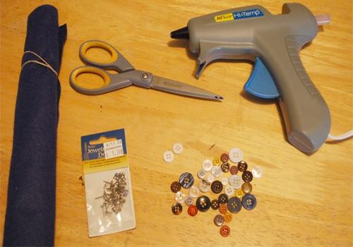 DIY button earring tutorial supplies